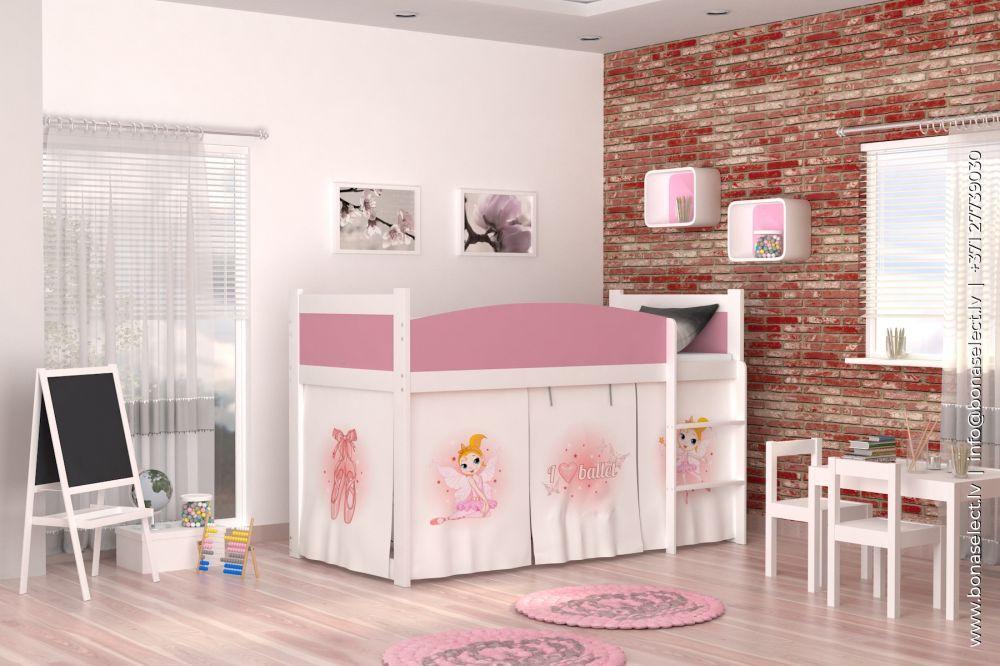 Bērnu gulta Twist Antresola Color ar stelāžu