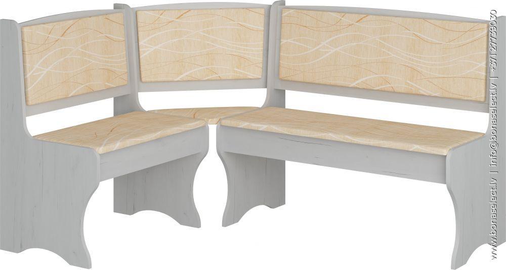 Virtuves stūra dīvāns ZKU 01 baltais ozols