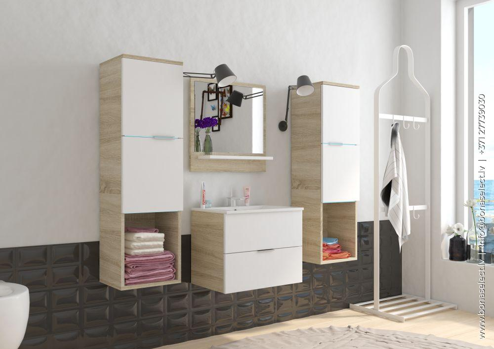 ?️Комплект мебели для ванной Polo Sonoma Цвет корпуса сонома Цвет элементов белый Материал изготовления ламинированная МДФ плита С раковиной С зеркалом да С LED Количество элементов 4